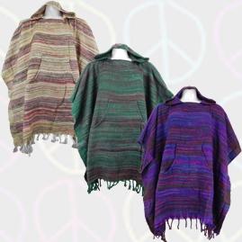 Striped Soft Acrylic Wool Ponchos