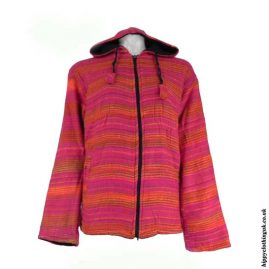Acrylic-wool-hippy-jacket-Pink