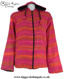 Acrylic wool hippy jacket Pink