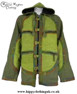 Bares Cotton Fleece Lined Hooded Jacket with Felt Trim hippy,hippie,boho clothing