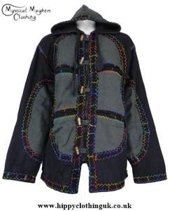 Bares Cotton Fleece Lined Hooded Jacket with Felt Trim hippy,hippie,boho clothing