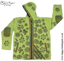 Bares Felt Trim Cotton Jacket with Fleece Lining Green