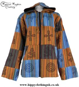 Bares Multicoloured Cotton Patchwork Hooded Hippy Festival Jacket Orange, Turquoise, green