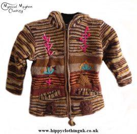 Bares Nepalese Kids Pixie Hooded Wool Jacket Brown