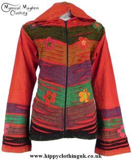 Bares Pixie Hooded Embroidery Hippy Style Jacket Redish XXLarge
