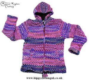 Bares Purple Nepalese Wool Hooded Festival Jacket