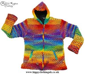 Bares Rainbow Nepalese Wool Hooded Festival Jacket