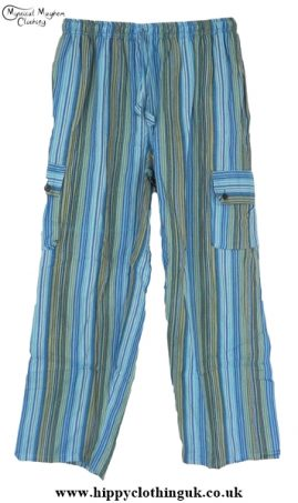 Bares Striped Cotton Nepalese Trousers Turquoise
