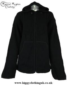 Black Bares Male Wool Fleece Lined Hooded Hippy Festival Jacket