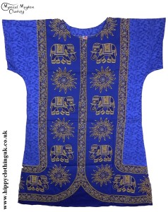 Blue Coloured Elephant Long Cotton Thai Kaftan Dress Unisex