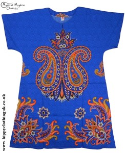 Blue Coloured Long Cotton Thai Kaftan Dress Unisex