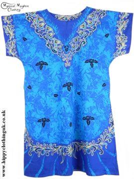 Blue/Turquoise Coloured Long Cotton Thai Kaftan Dress Unisex