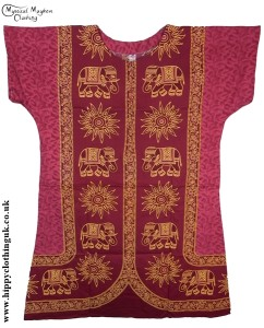 Burgundy Coloured Elephant Long Cotton Thai Kaftan Dress Unisex