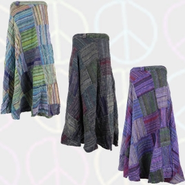 Cotton Patchwork Wrap Skirts