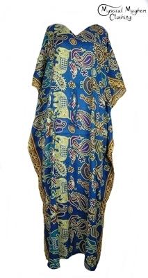 Long Thai Kaftan Dress Teal with Elephant Pattern