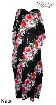 Long Thai Kaftan Dress Black with Red Flower Pattern