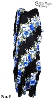 Long Thai Kaftan Dress Black with Blue Flower Pattern