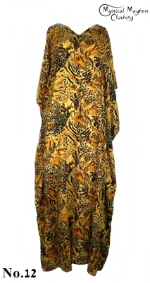 Long Thai Kaftan Dress Orange Wild Cat