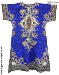 Dark Blue Coloured Long Cotton Thai Kaftan Dress Unisex