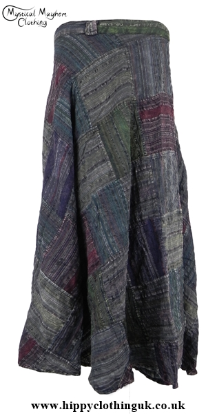 Dark Mix Over Dyed Patchwork Wrap Skirt