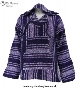 Dark Purple and White Mexican Jerga Baja Hooded Hippy Festival Top