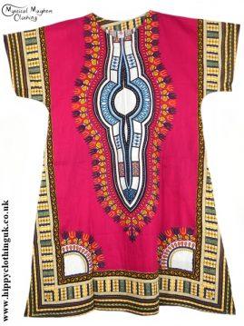 Deep Red Coloured Long Cotton Thai Kaftan Dress Unisex