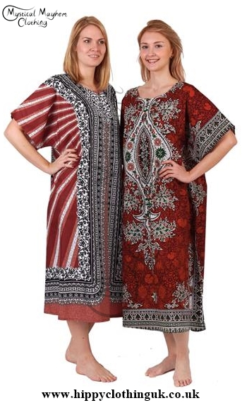 Example of Women Wearing these unisex Thai Cotton Kaftans