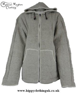 Gray Bares Male Wool Fleece Lined Hooded Hippy Festival Jacket