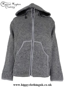 Gray Hippy Festival Nepalese Wool Jacket With Removable Hood