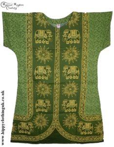Green Coloured Elephant Long Cotton Thai Kaftan Dress Unisex