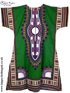 Green Coloured Long Cotton Thai Kaftan Dress Unisex b