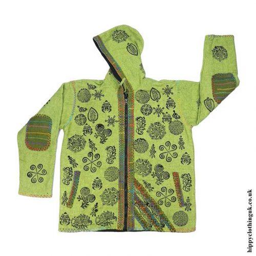 Green-Floral-Design-Jacket-with-Felt-Trim