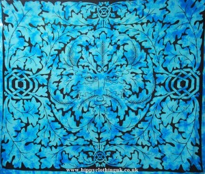 Green Man Pattern Throw, Wall Hanging, Bed Spread, Turquoise