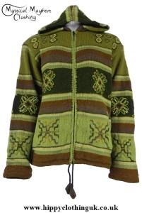 Green Nepalese Style Wool Fleece Lined Hooded Jacket with Embroidery Work