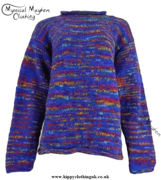 Gringo Blue Multicoloured Nepalese Wool Jumper