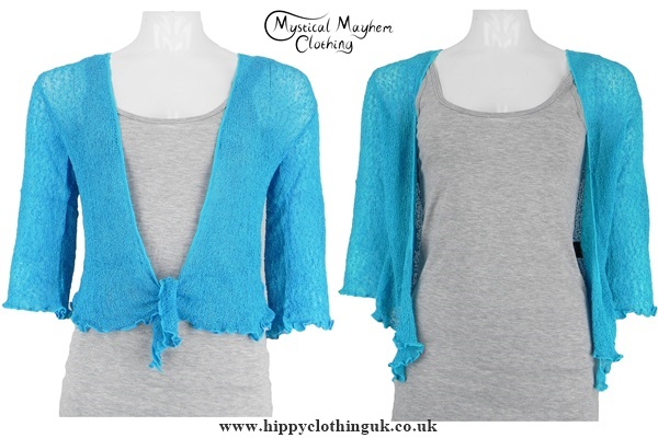 Turquoise Hippy Festival Shrug/Cardigan - Mystical Mayhem Hippy ...