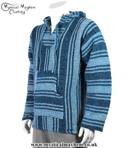 Light Blue Mexican Jerga Baja Hooded Hippy Festival Top