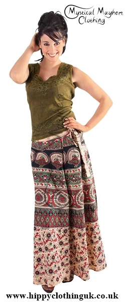 Long Cotton Throw Wrap Skirt