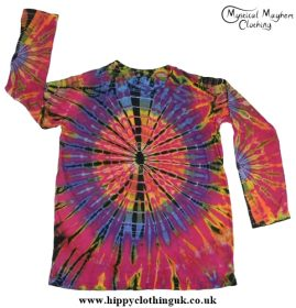 Long Sleeve Tie Dye T-Shirt Hippy Festival Top