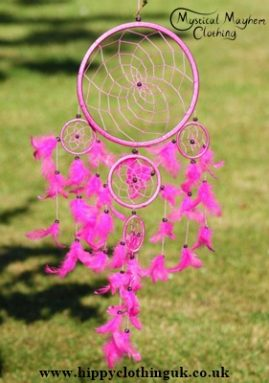 Medium Size Pink Round Cotton Dreamcatcher
