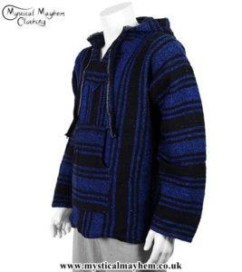 Mexican Jerga Baja Hooded Hippy Festival Top Blue and Black