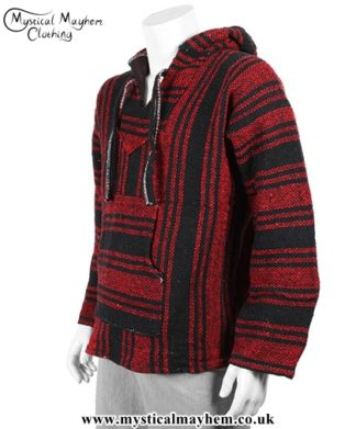 Mexican Jerga Baja Hooded Hippy Festival Top Red and Black