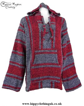 Red and White Mexican Jerga Baja Hooded Hippy Festival Top