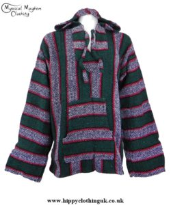 Green/Red/Black/White Mexican Jerga Baja Hooded Hippy Festival Top
