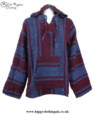 Blue and Red Mexican Jerga Baja Hooded Hippy Festival Top
