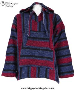 Mexican Jerga Baja Hooded Hippy Festival Top Blue/Red/Black