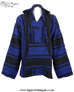 Dark Blue and Black Mexican Jerga Baja Hooded Hippy Festival Top