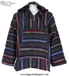 Mexican Jerga Baja Hooded Hippy Festival Top Colour Stripes