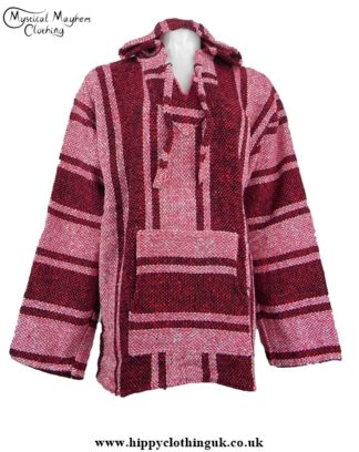 Deep Red Mexican Jerga Baja Hooded Hippy Festival Top