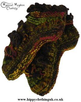 Mohair Fringe Standard size Wool Fleece Lined Socks Brown